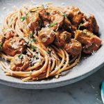 Paddenstoelenragù met spaghetti